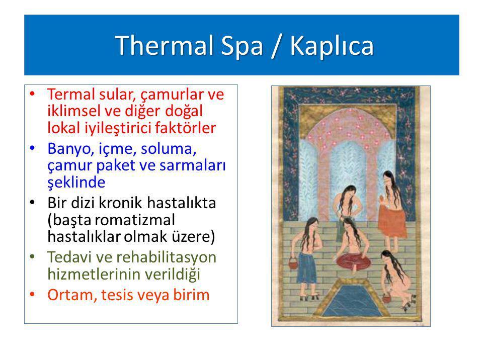 Thermal Spa / Kaplıca Termal sular, çamurlar ve iklimsel ve diğer doğal lokal iyileştirici faktörler.