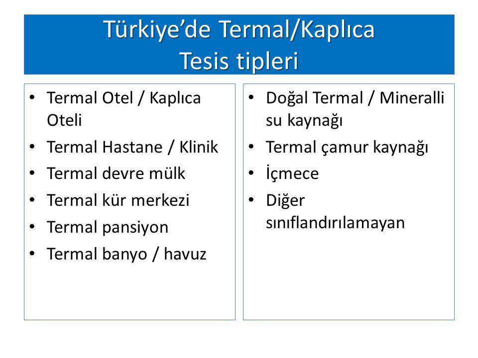 Türkiye'de Termal/Kaplıca Tesis tipleri
