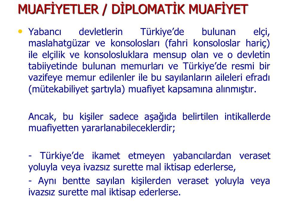MUAFİYETLER / DİPLOMATİK MUAFİYET