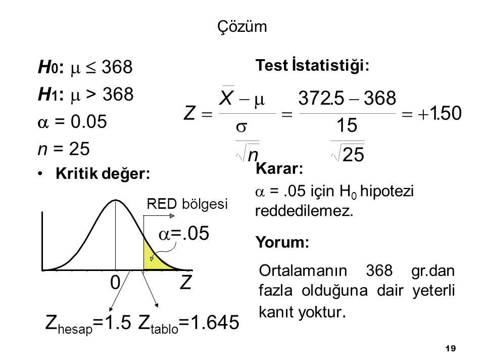 X   372 . 5  368 Z     1 . 50  15 n 25 =.05 Z Zhesap=1.5