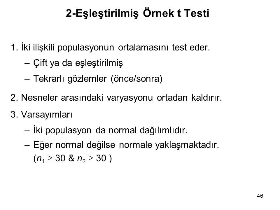 2-Eşleştirilmiş Örnek t Testi