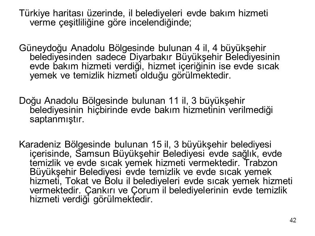 Türkiye haritası üzerinde, il belediyeleri evde bakım hizmeti verme çeşitliliğine göre incelendiğinde;
