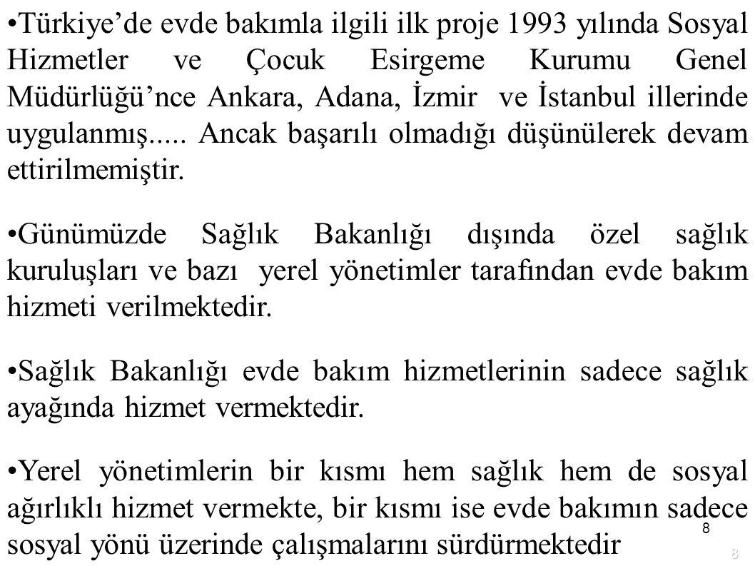 Türkiye'de evde bakımla ilgili ilk proje 1993 yılında Sosyal Hizmetler ve Çocuk Esirgeme Kurumu Genel Müdürlüğü'nce Ankara, Adana, İzmir ve İstanbul illerinde uygulanmış..... Ancak başarılı olmadığı düşünülerek devam ettirilmemiştir.