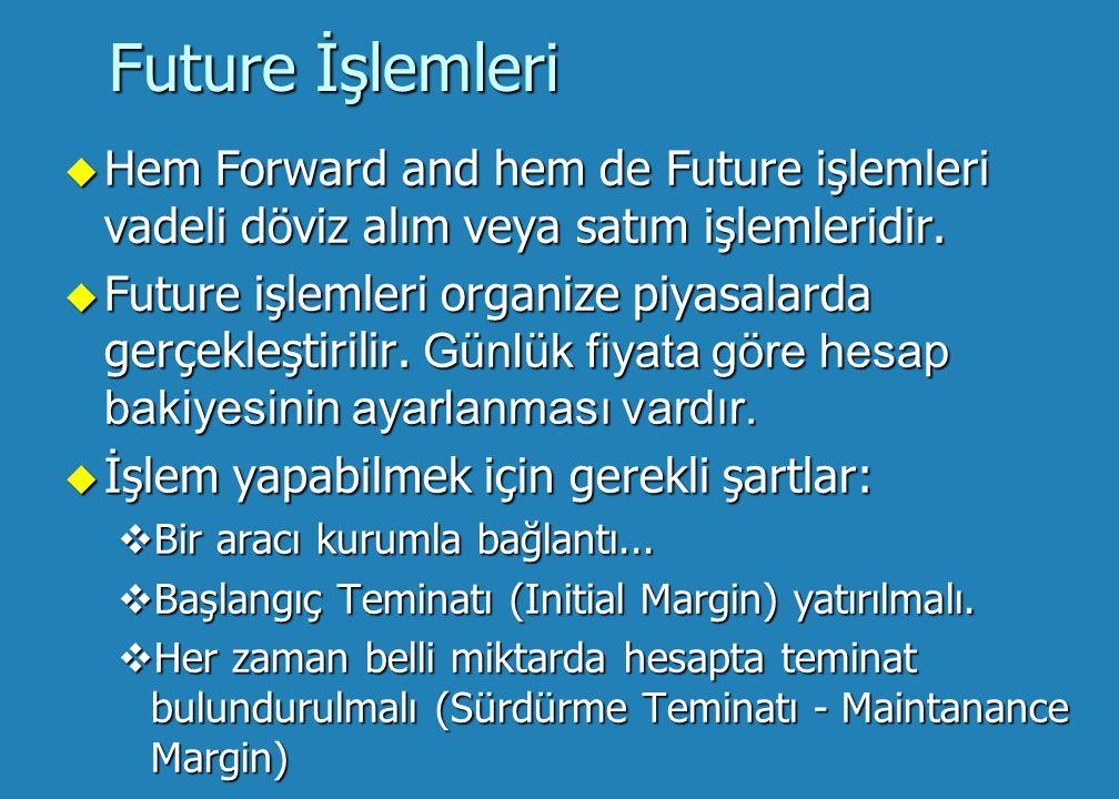Future İşlemleri Hem Forward and hem de Future işlemleri vadeli döviz alım veya satım işlemleridir.