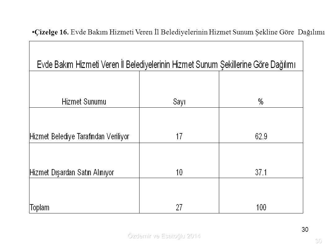 Çizelge 16. Evde Bakım Hizmeti Veren İl Belediyelerinin Hizmet Sunum Şekline Göre Dağılımı