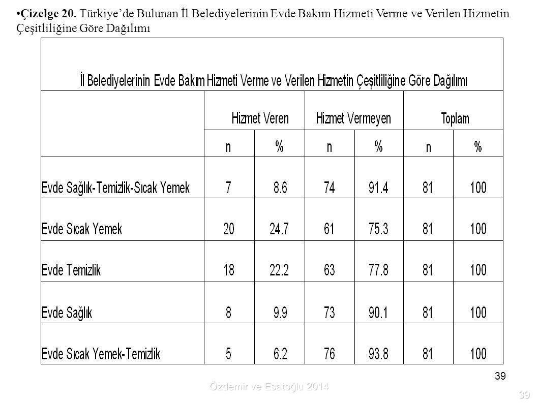 Çizelge 20. Türkiye'de Bulunan İl Belediyelerinin Evde Bakım Hizmeti Verme ve Verilen Hizmetin Çeşitliliğine Göre Dağılımı