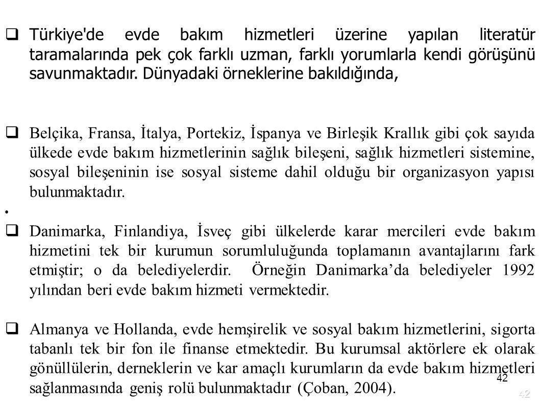 Türkiye de evde bakım hizmetleri üzerine yapılan literatür taramalarında pek çok farklı uzman, farklı yorumlarla kendi görüşünü savunmaktadır. Dünyadaki örneklerine bakıldığında,