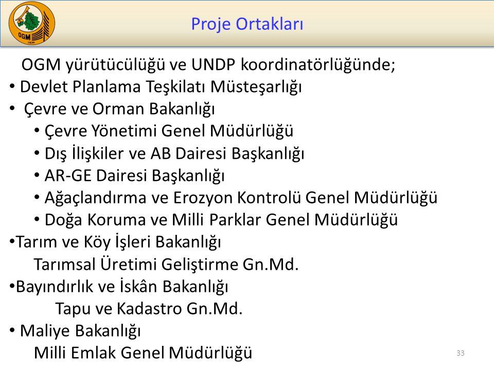 Proje Ortakları OGM yürütücülüğü ve UNDP koordinatörlüğünde;