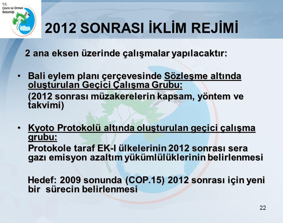 2012 SONRASI İKLİM REJİMİ 2 ana eksen üzerinde çalışmalar yapılacaktır: