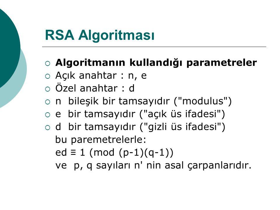RSA Algoritması Algoritmanın kullandığı parametreler