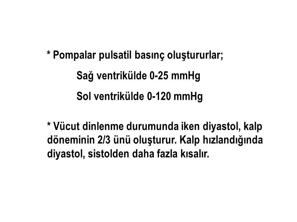 * Pompalar pulsatil basınç oluştururlar;
