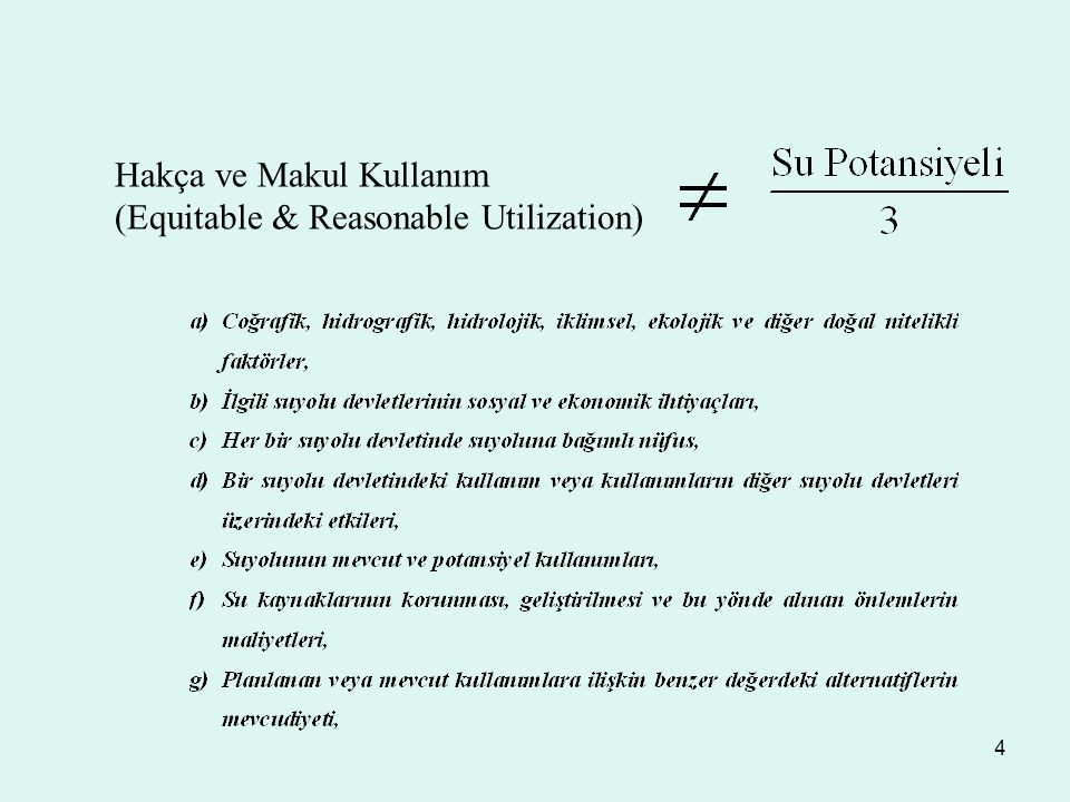 Hakça ve Makul Kullanım (Equitable & Reasonable Utilization)
