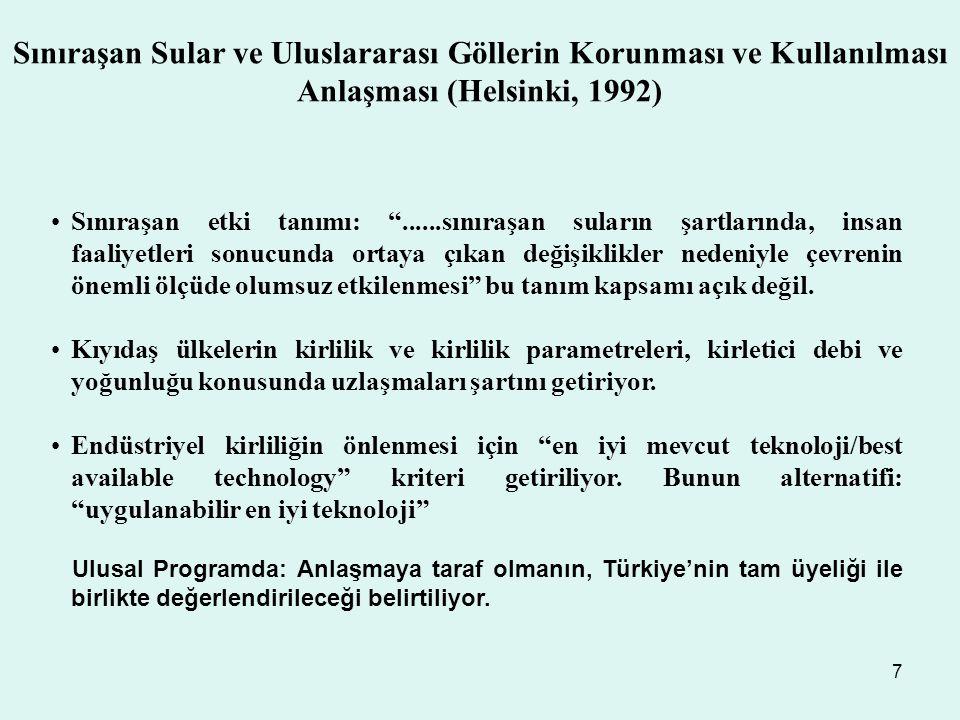 Sınıraşan Sular ve Uluslararası Göllerin Korunması ve Kullanılması Anlaşması (Helsinki, 1992)
