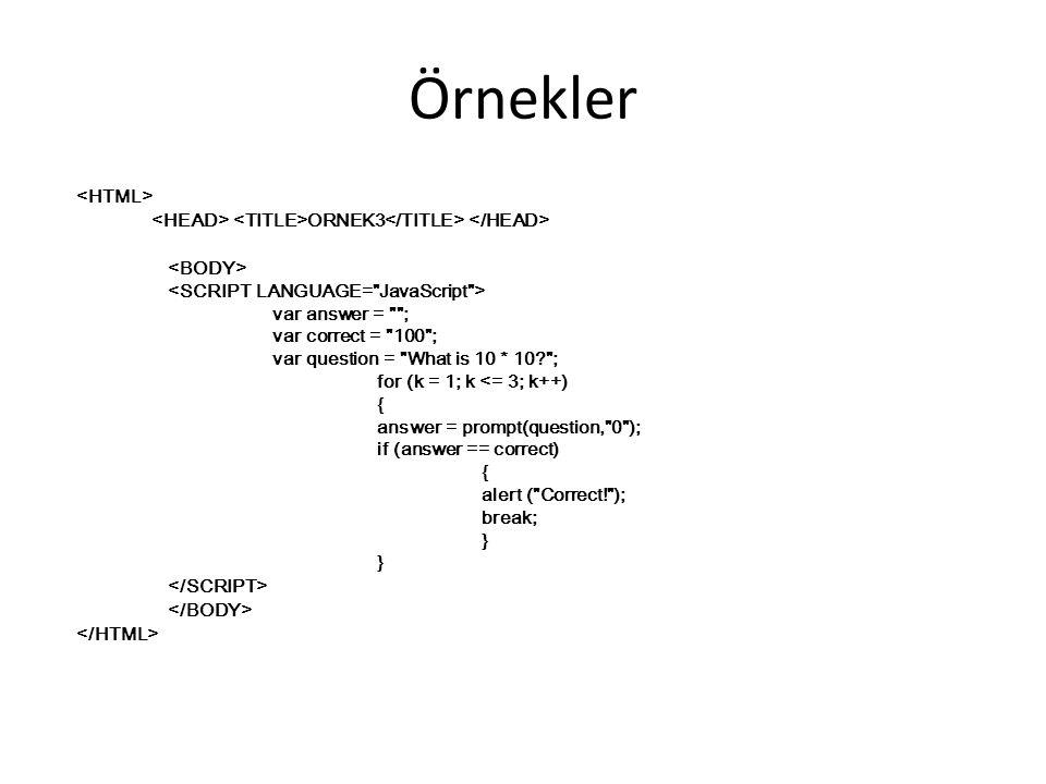 Örnekler <HTML>