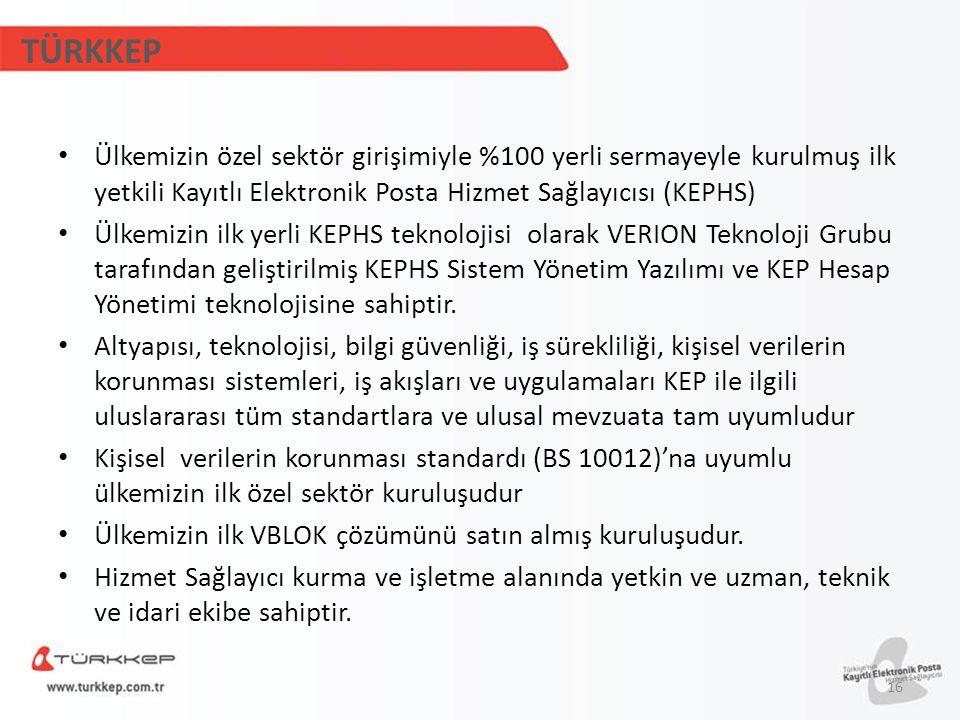 TÜRKKEP Ülkemizin özel sektör girişimiyle %100 yerli sermayeyle kurulmuş ilk yetkili Kayıtlı Elektronik Posta Hizmet Sağlayıcısı (KEPHS)