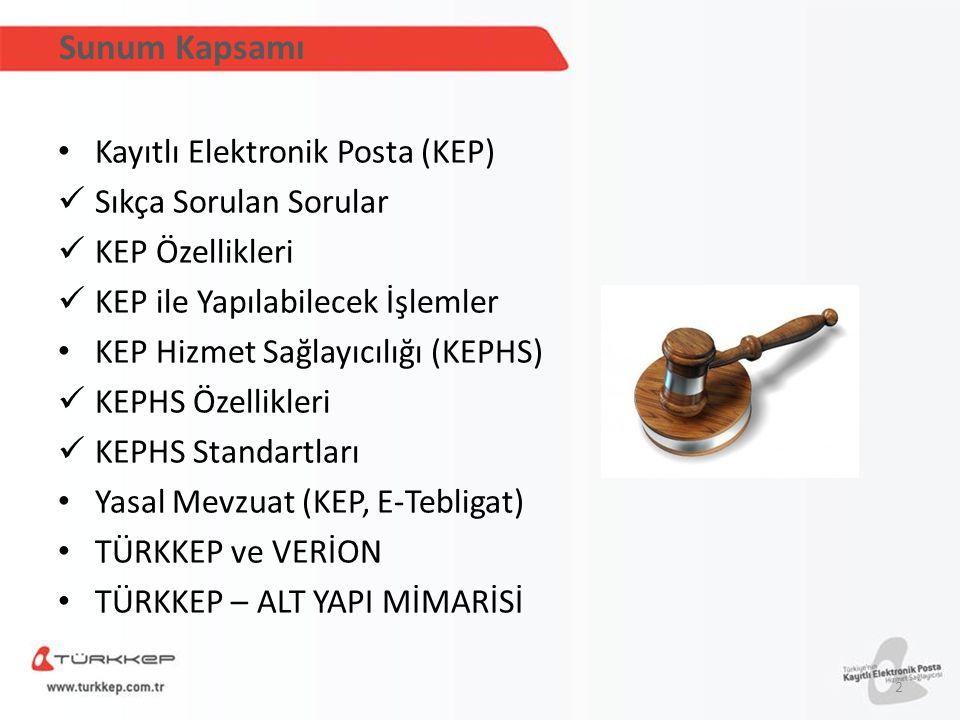 Sunum Kapsamı Kayıtlı Elektronik Posta (KEP) Sıkça Sorulan Sorular