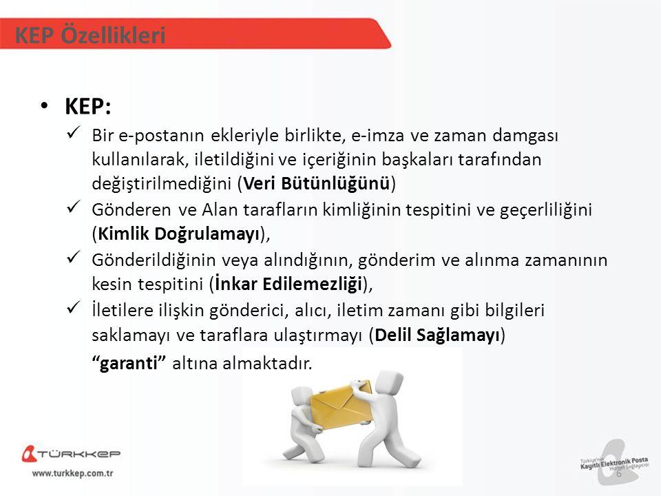 KEP Özellikleri KEP: