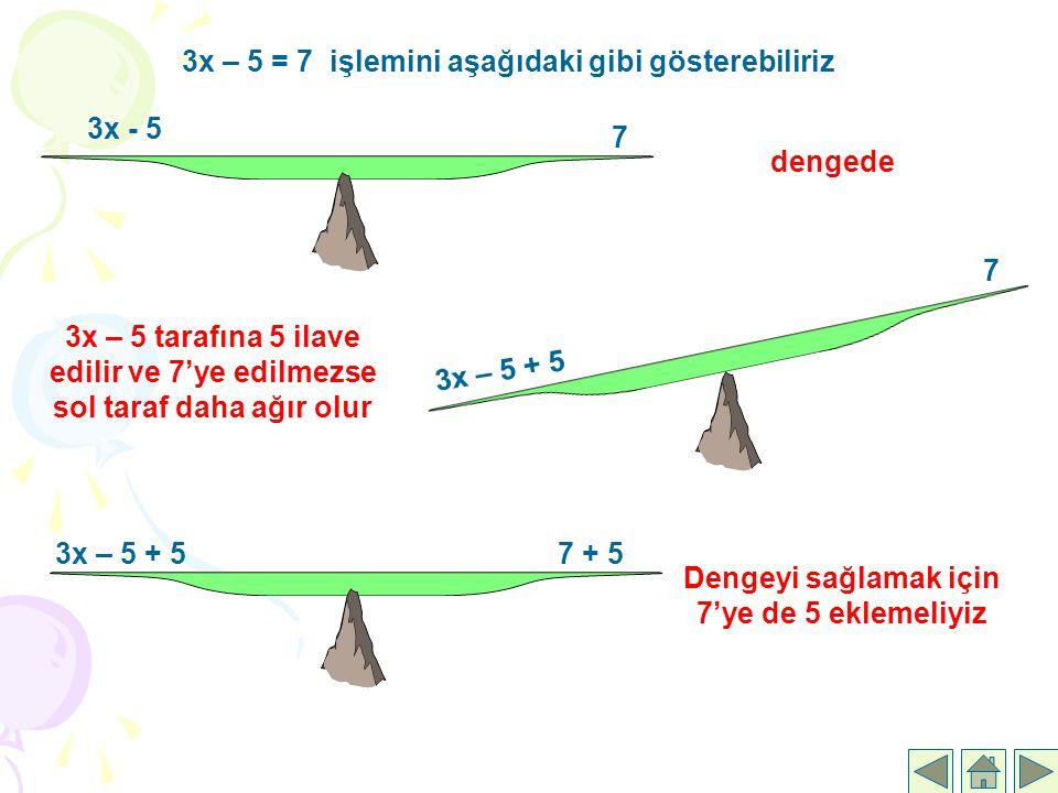 3x – 5 = 7 işlemini aşağıdaki gibi gösterebiliriz
