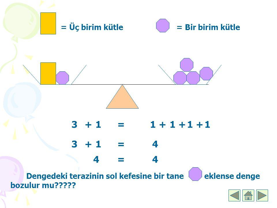 3 + 1 = 1 + 1 + 1 + 1 3 + 1 = 4 4 = 4 = Üç birim kütle