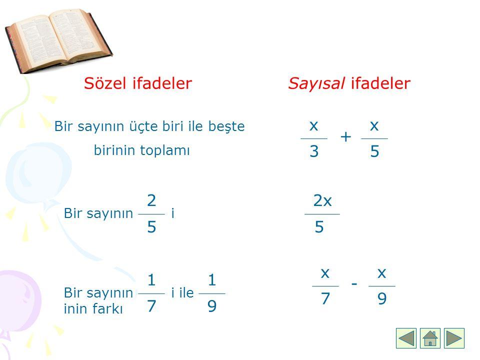 Sözel ifadeler Sayısal ifadeler x 3 5 x + 2 5 2x 5 x 7 x 9 1 7 1 9 -