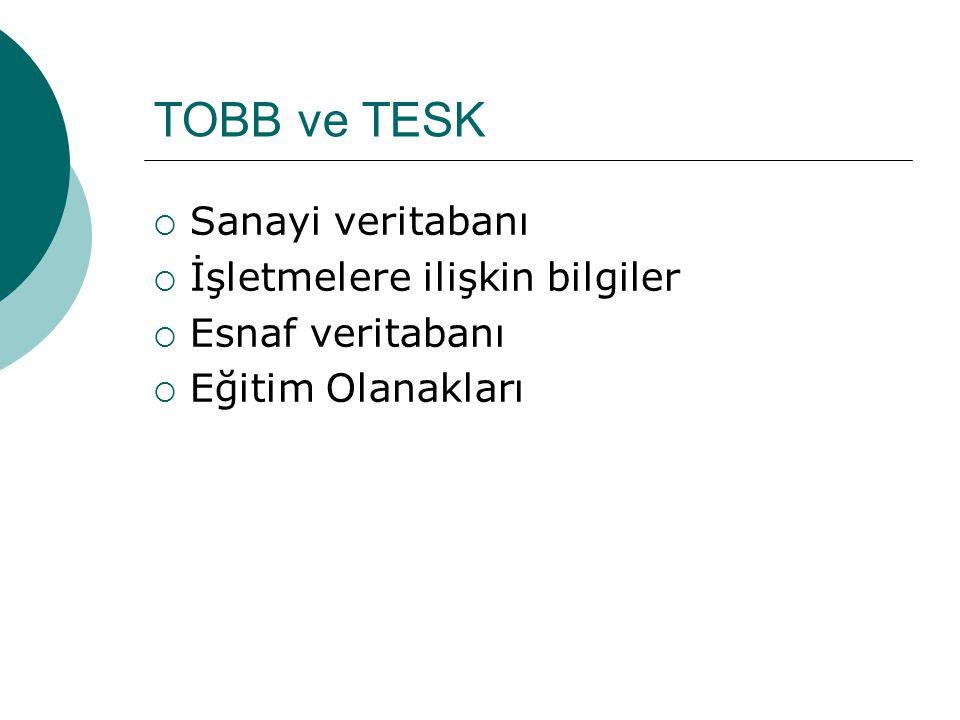 TOBB ve TESK Sanayi veritabanı İşletmelere ilişkin bilgiler