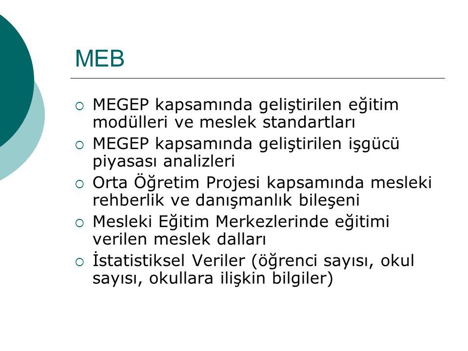 MEB MEGEP kapsamında geliştirilen eğitim modülleri ve meslek standartları. MEGEP kapsamında geliştirilen işgücü piyasası analizleri.