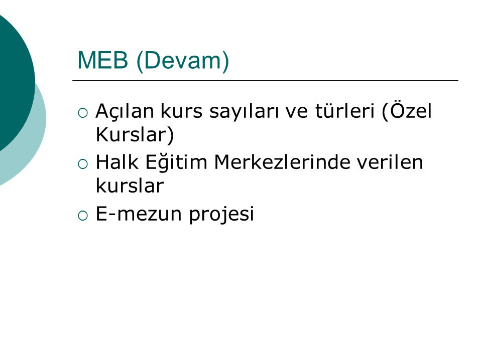 MEB (Devam) Açılan kurs sayıları ve türleri (Özel Kurslar)