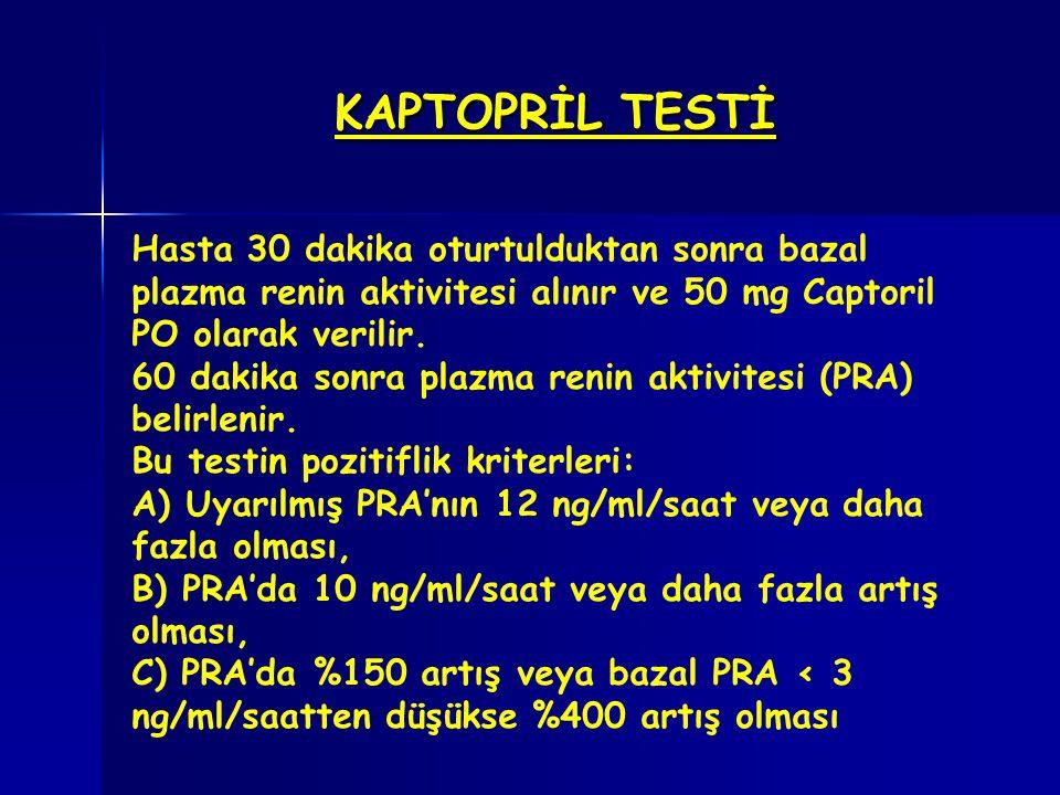 KAPTOPRİL TESTİ Hasta 30 dakika oturtulduktan sonra bazal plazma renin aktivitesi alınır ve 50 mg Captoril PO olarak verilir.