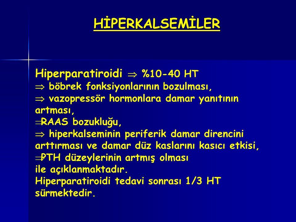 HİPERKALSEMİLER Hiperparatiroidi  %10-40 HT