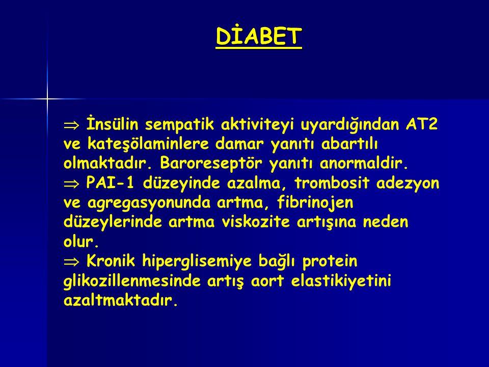 DİABET  İnsülin sempatik aktiviteyi uyardığından AT2 ve kateşölaminlere damar yanıtı abartılı olmaktadır. Baroreseptör yanıtı anormaldir.