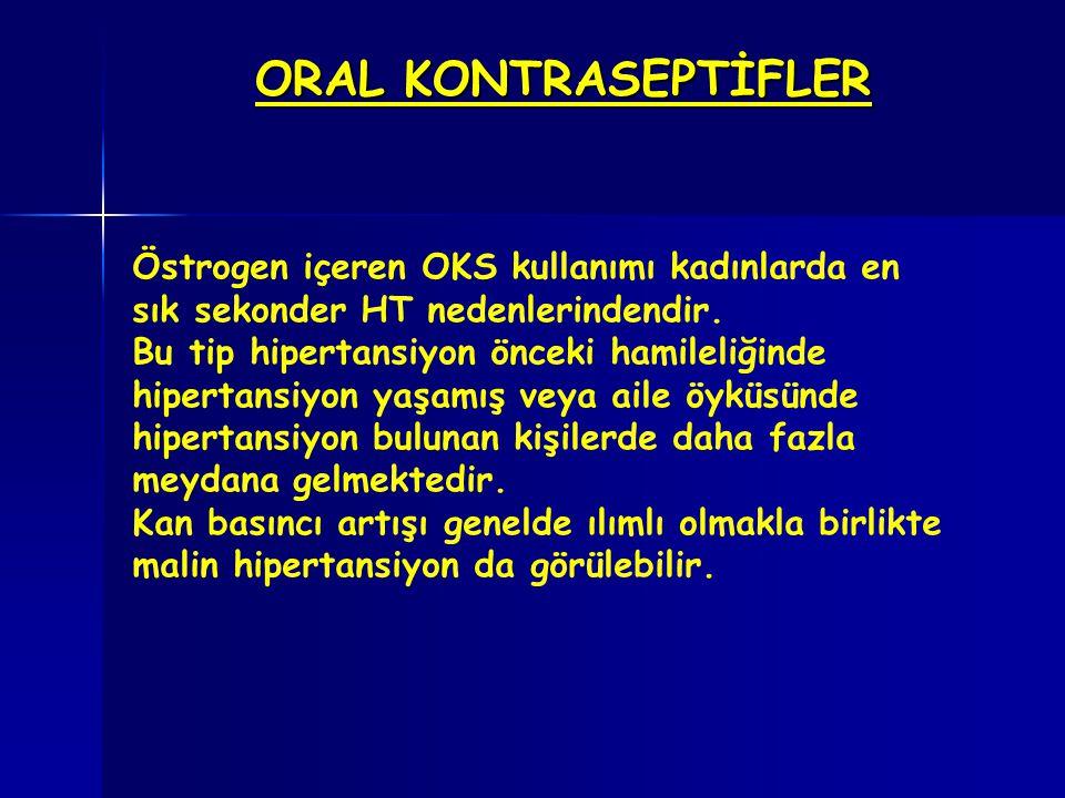 ORAL KONTRASEPTİFLER Östrogen içeren OKS kullanımı kadınlarda en sık sekonder HT nedenlerindendir.