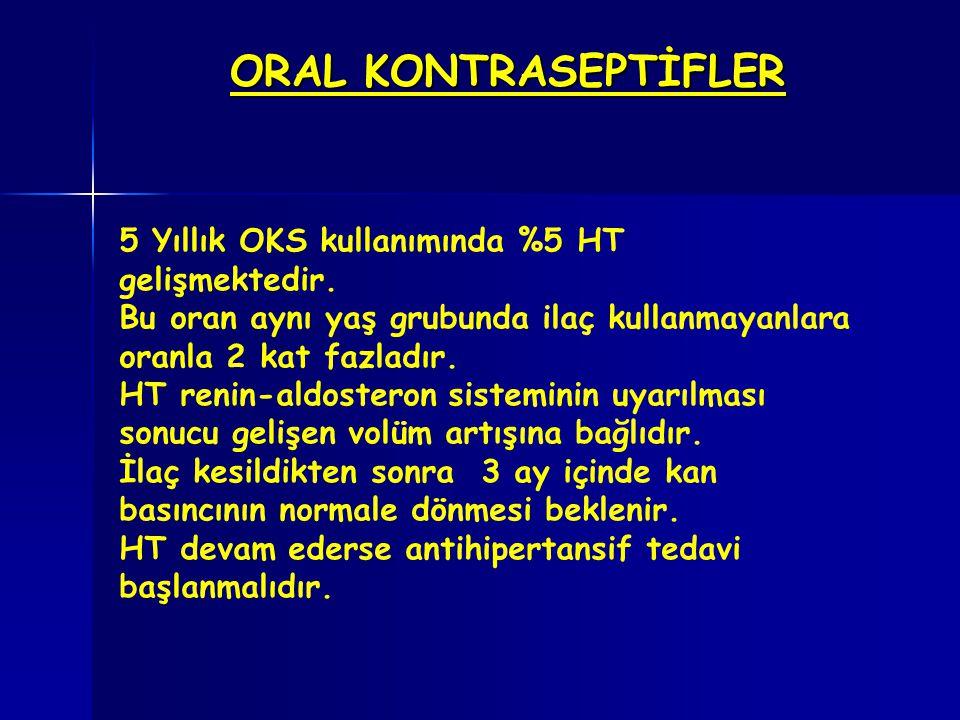ORAL KONTRASEPTİFLER 5 Yıllık OKS kullanımında %5 HT gelişmektedir.