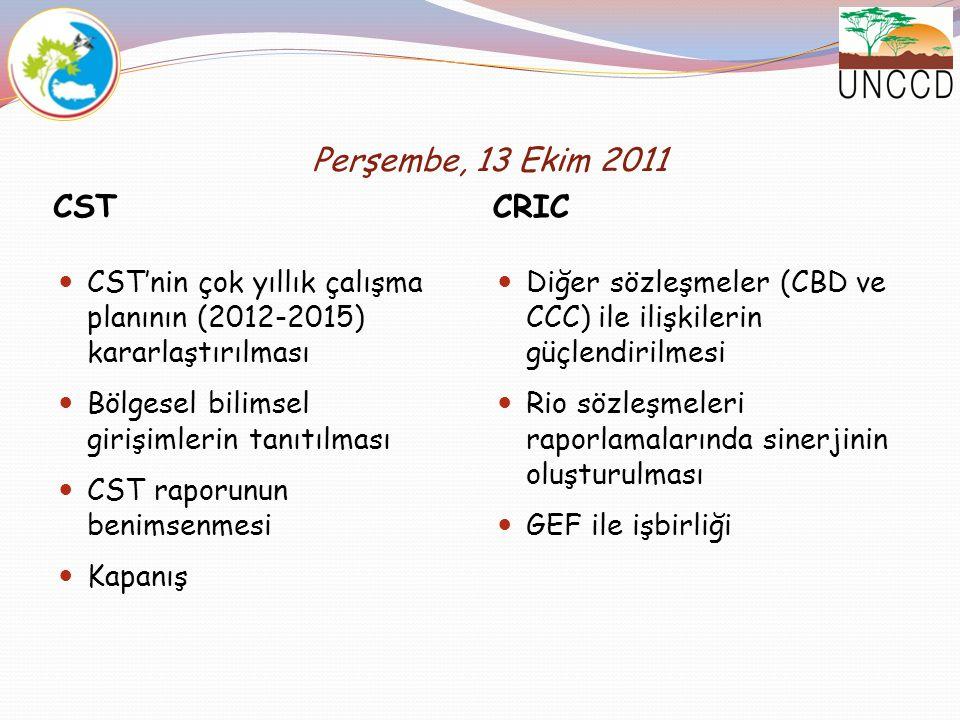 Perşembe, 13 Ekim 2011 CST. CRIC. CST'nin çok yıllık çalışma planının (2012-2015) kararlaştırılması.