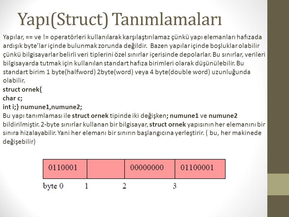 Yapı(Struct) Tanımlamaları