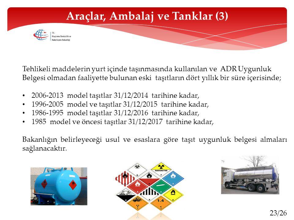Araçlar, Ambalaj ve Tanklar (3)