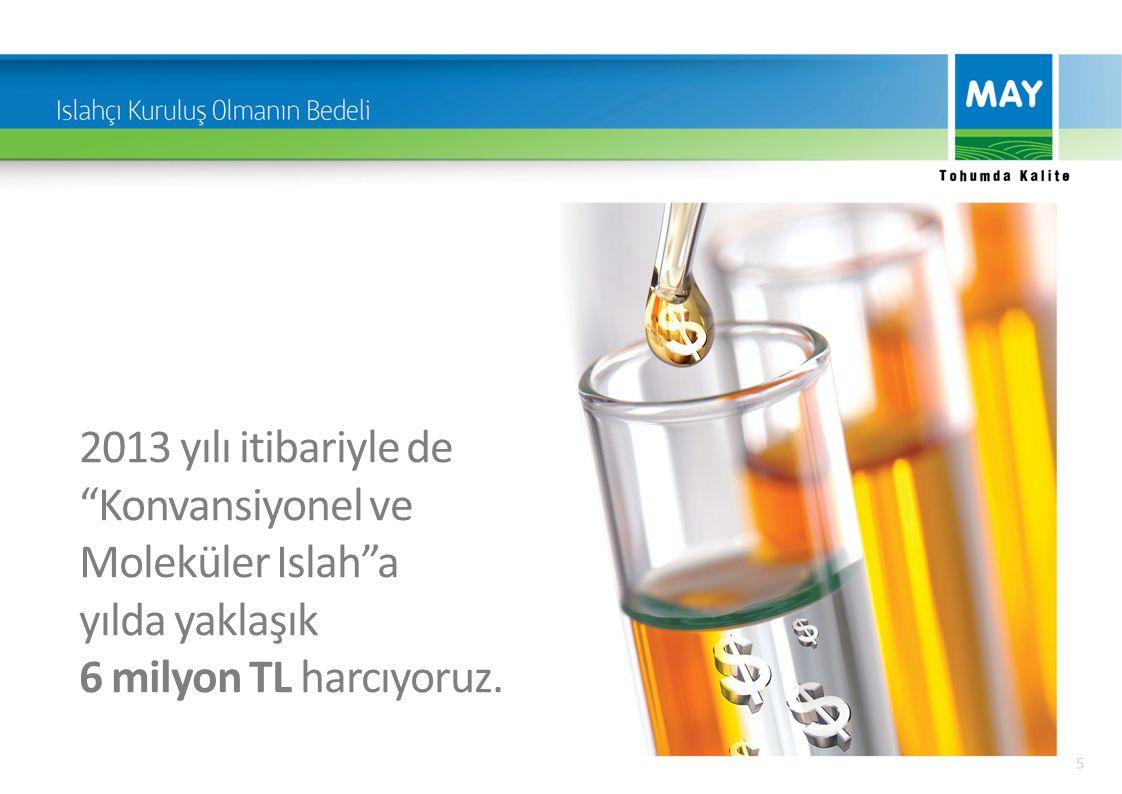 2013 yılı itibariyle de Konvansiyonel ve Moleküler Islah a yılda yaklaşık 6 milyon TL harcıyoruz.