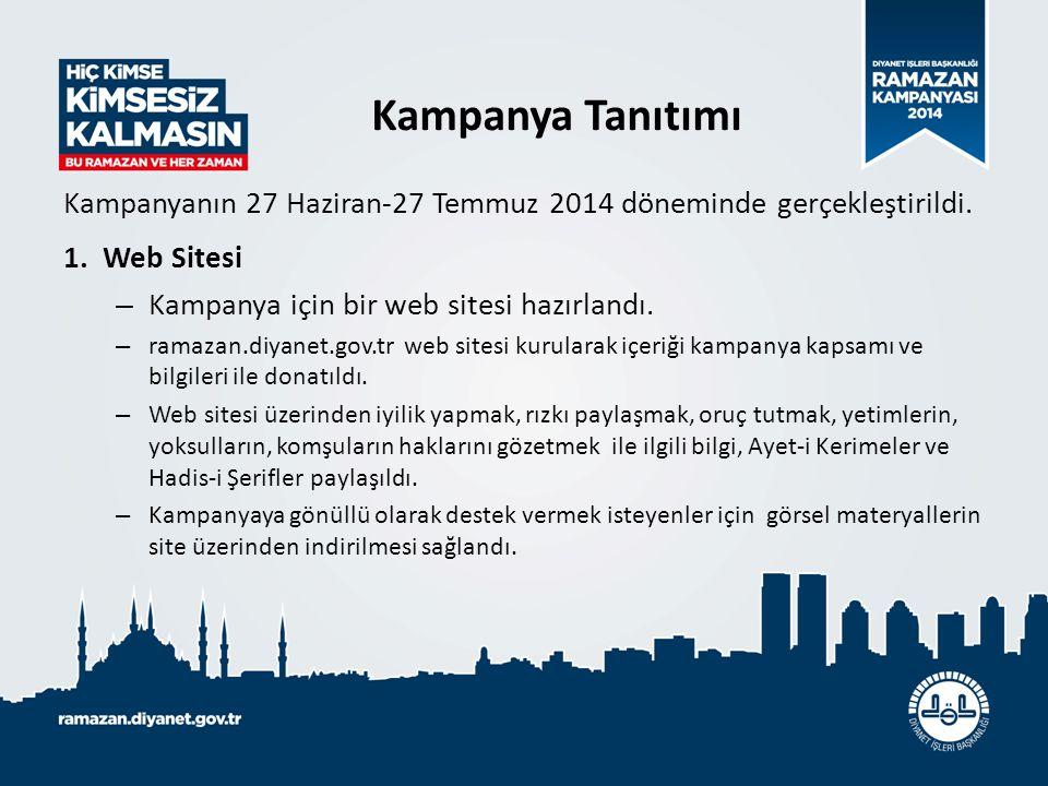 Kampanya Tanıtımı Kampanyanın 27 Haziran-27 Temmuz 2014 döneminde gerçekleştirildi. Web Sitesi. Kampanya için bir web sitesi hazırlandı.