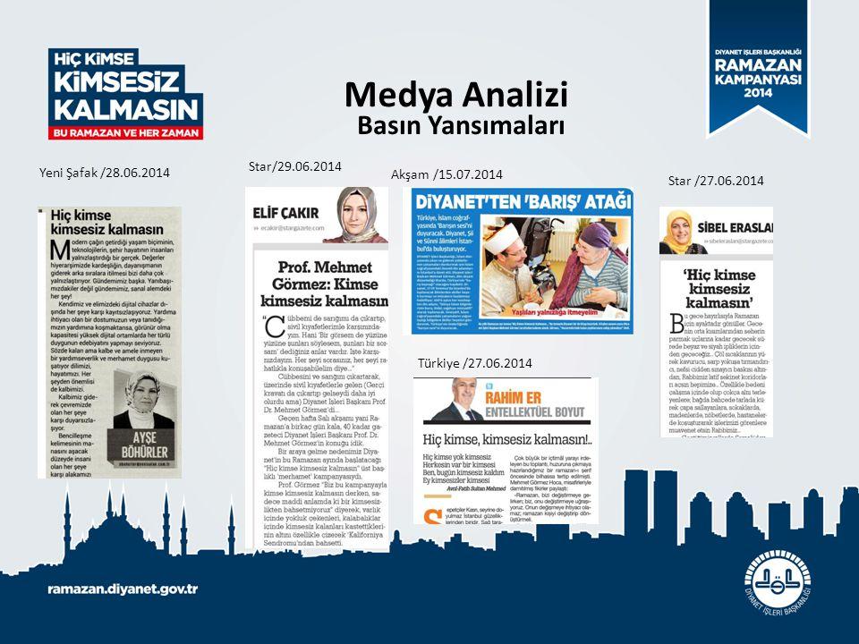 Medya Analizi Basın Yansımaları Star/29.06.2014 Yeni Şafak /28.06.2014