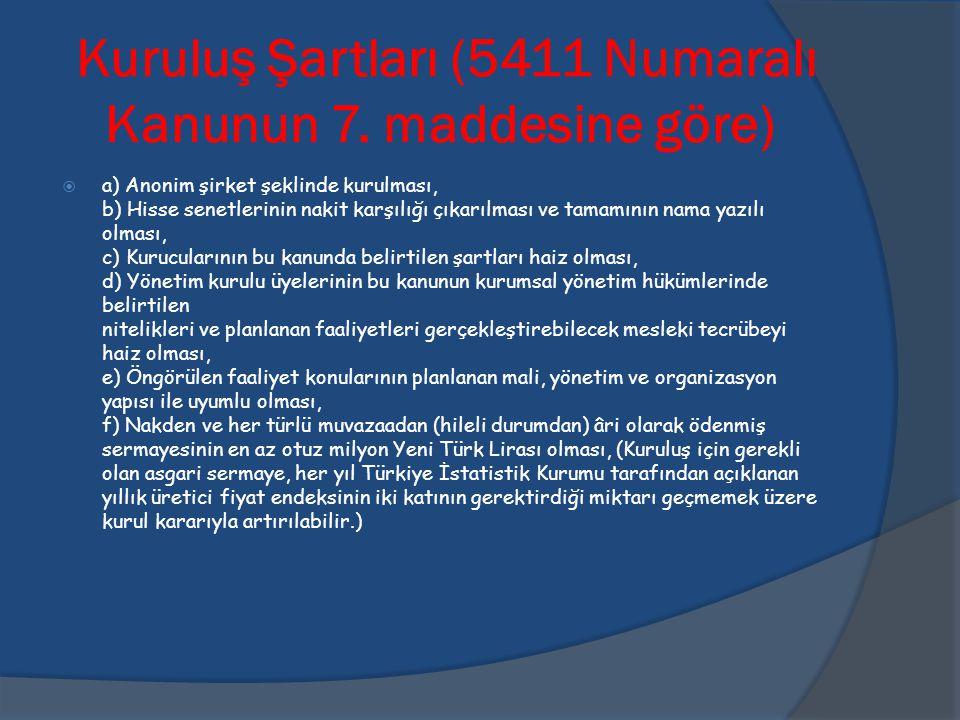 Kuruluş Şartları (5411 Numaralı Kanunun 7. maddesine göre)