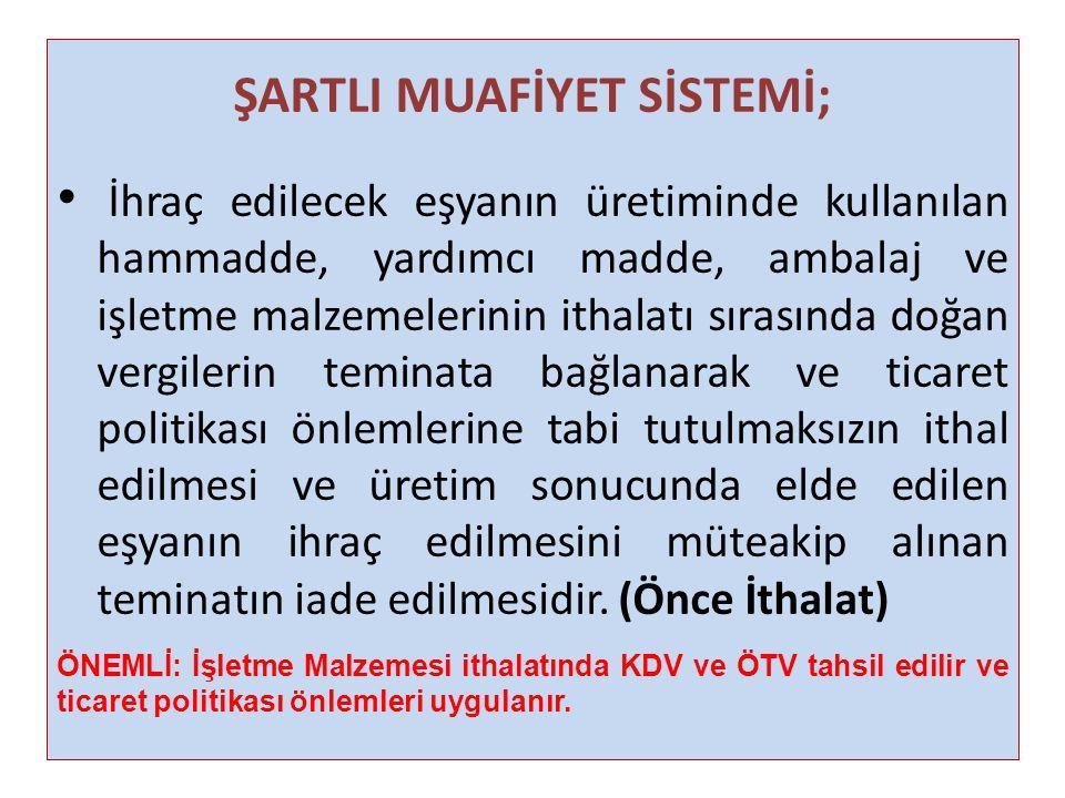ŞARTLI MUAFİYET SİSTEMİ;
