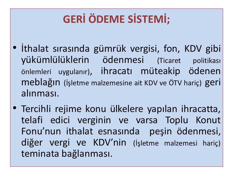 GERİ ÖDEME SİSTEMİ;