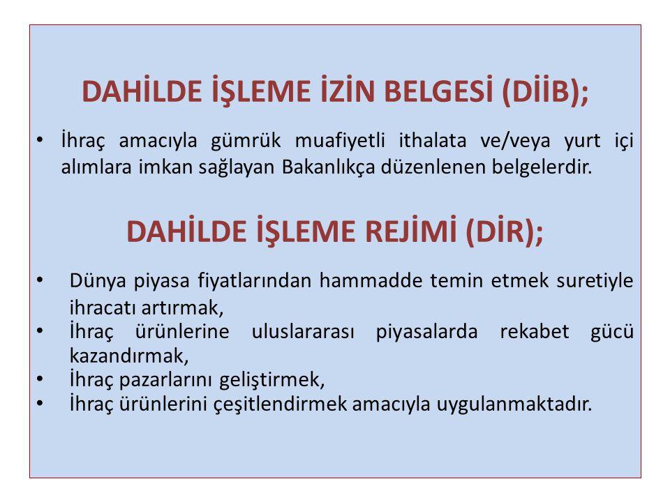 DAHİLDE İŞLEME İZİN BELGESİ (DİİB); DAHİLDE İŞLEME REJİMİ (DİR);