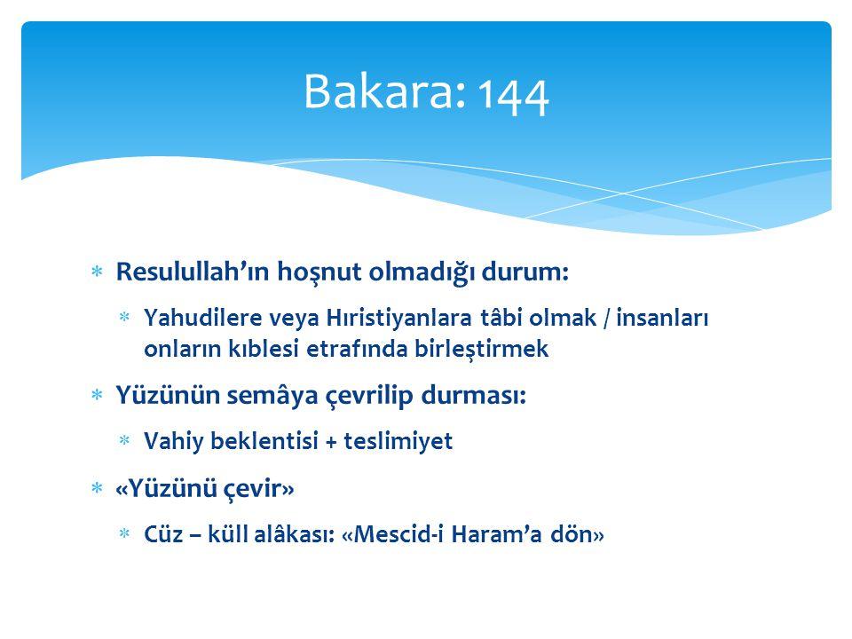 Bakara: 144 Resulullah'ın hoşnut olmadığı durum: