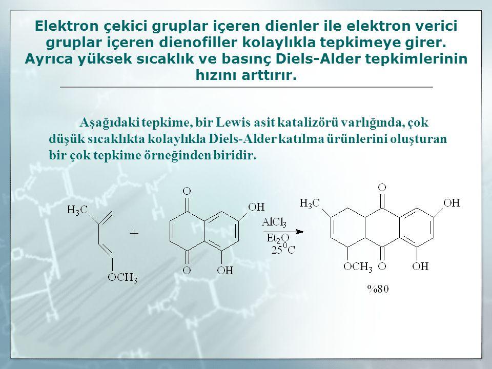 Elektron çekici gruplar içeren dienler ile elektron verici gruplar içeren dienofiller kolaylıkla tepkimeye girer. Ayrıca yüksek sıcaklık ve basınç Diels-Alder tepkimlerinin hızını arttırır.