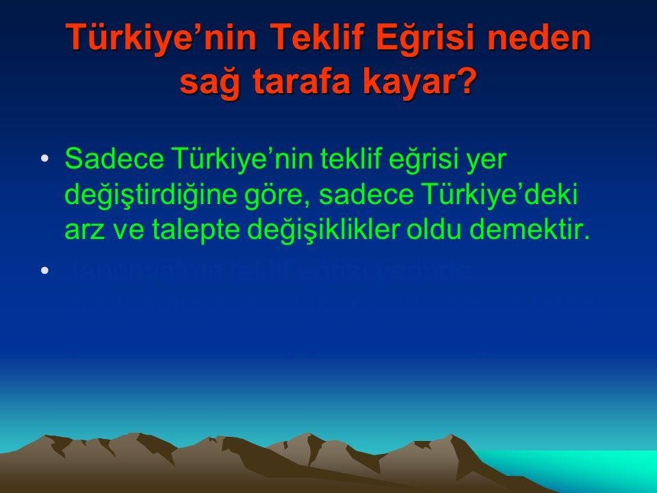 Türkiye'nin Teklif Eğrisi neden sağ tarafa kayar