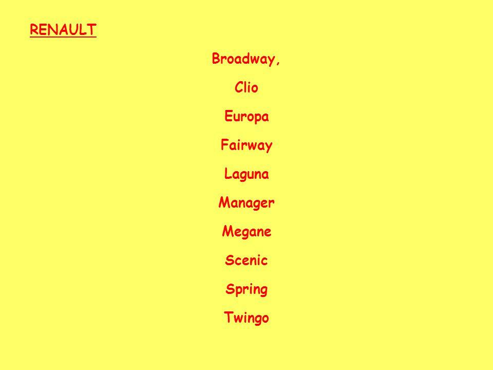 RENAULT Broadway, Clio Europa Fairway Laguna Manager Megane Scenic Spring Twingo