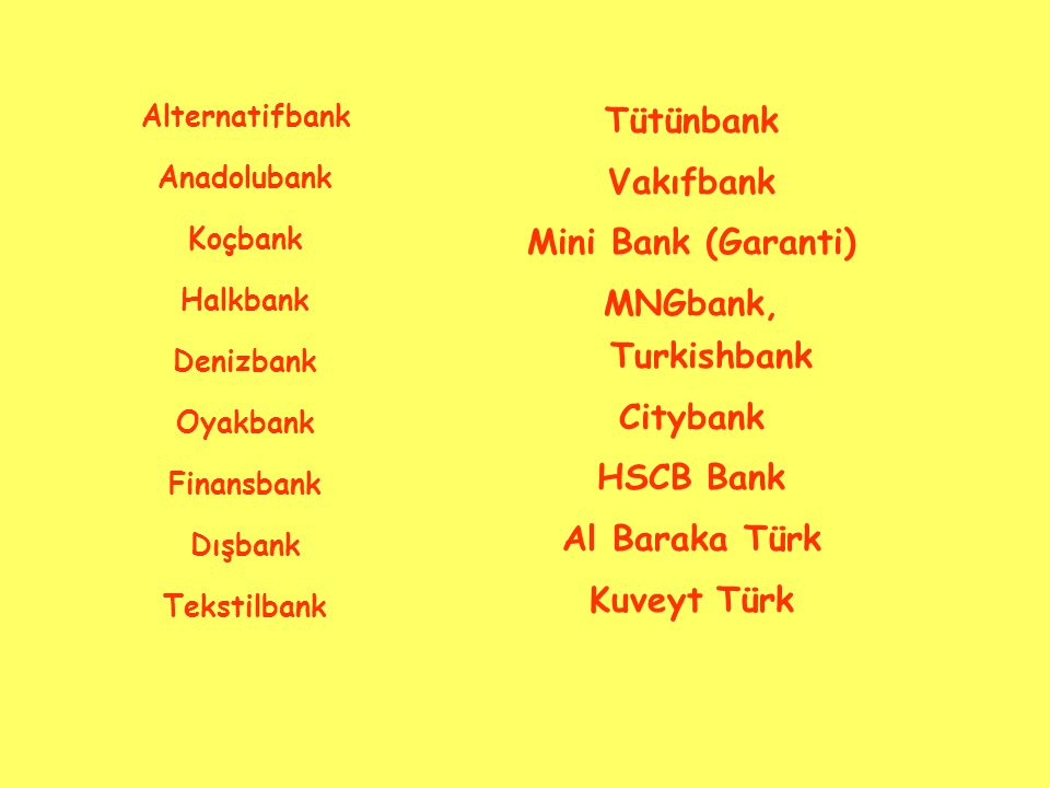 Tütünbank Vakıfbank Mini Bank (Garanti) MNGbank, Turkishbank Citybank