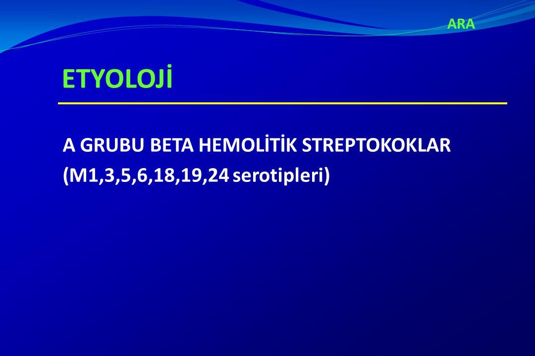 ARA ETYOLOJİ A GRUBU BETA HEMOLİTİK STREPTOKOKLAR (M1,3,5,6,18,19,24 serotipleri)