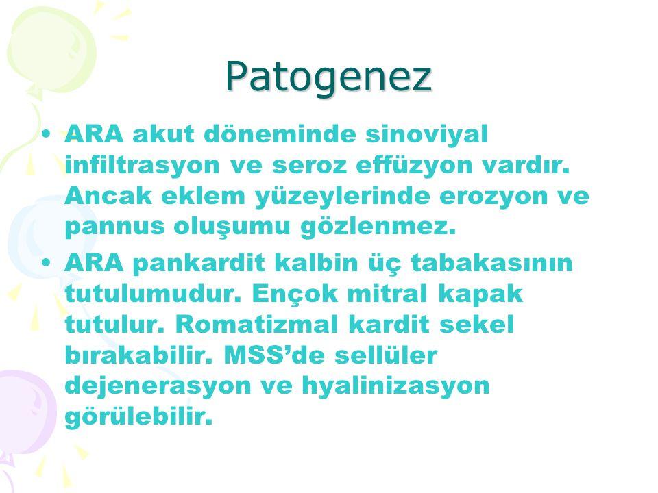 Patogenez ARA akut döneminde sinoviyal infiltrasyon ve seroz effüzyon vardır. Ancak eklem yüzeylerinde erozyon ve pannus oluşumu gözlenmez.