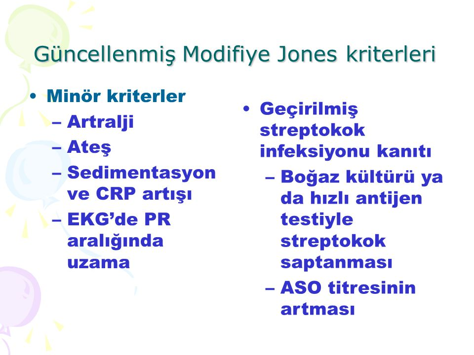 Güncellenmiş Modifiye Jones kriterleri